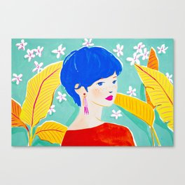 Short Hair Girl in Red Canvas Print