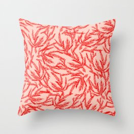 Red Coral Ferns Throw Pillow