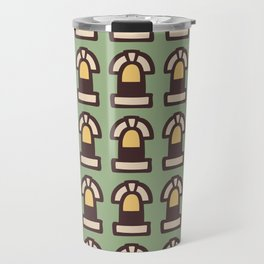 New York Windows Pattern 261 Brown Green and Yellow Travel Mug