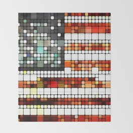 Retro Abstract American Flag Throw Blanket