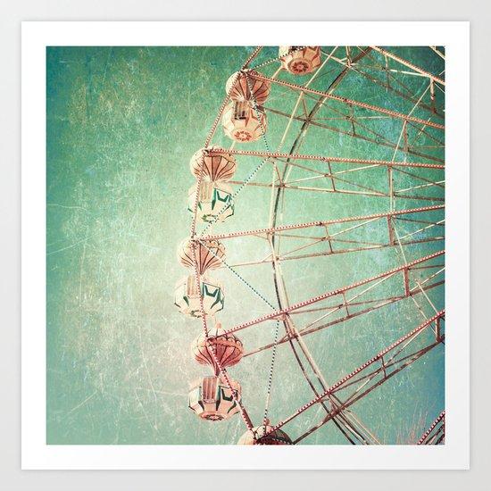 Textured Ferris Wheel Art Print