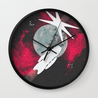 battlestar galactica Wall Clocks featuring Minimal Galactica by Nicolas Beaujouan