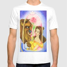 Beauty & The Beast  White SMALL Mens Fitted Tee