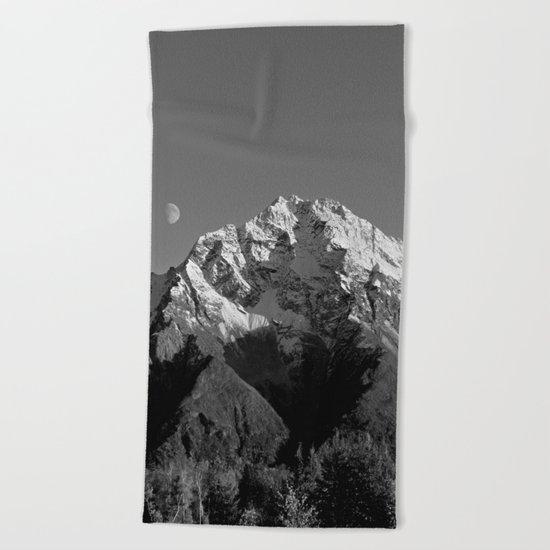 Moon Over Pioneer Peak B&W Beach Towel