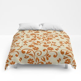 """Orange Flowers & Natural Texture"" Comforters"