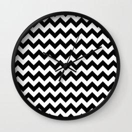Black and White Chevron Print Wall Clock