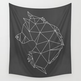 Geometric Wolf (White on Grey) Wall Tapestry