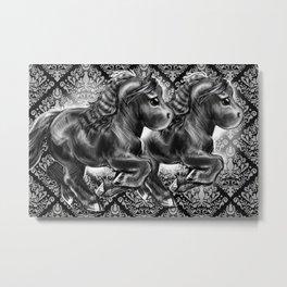 Damask Friesian Metal Print