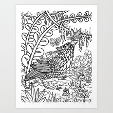 Bird and Butterflies Art Print