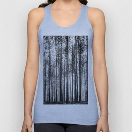 trees in forest landscape - black and white nature photography Unisex Tank Top