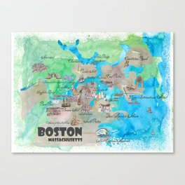 Boston Favorite Map with touristic Top Ten Highlights in colorful retro style Canvas Print