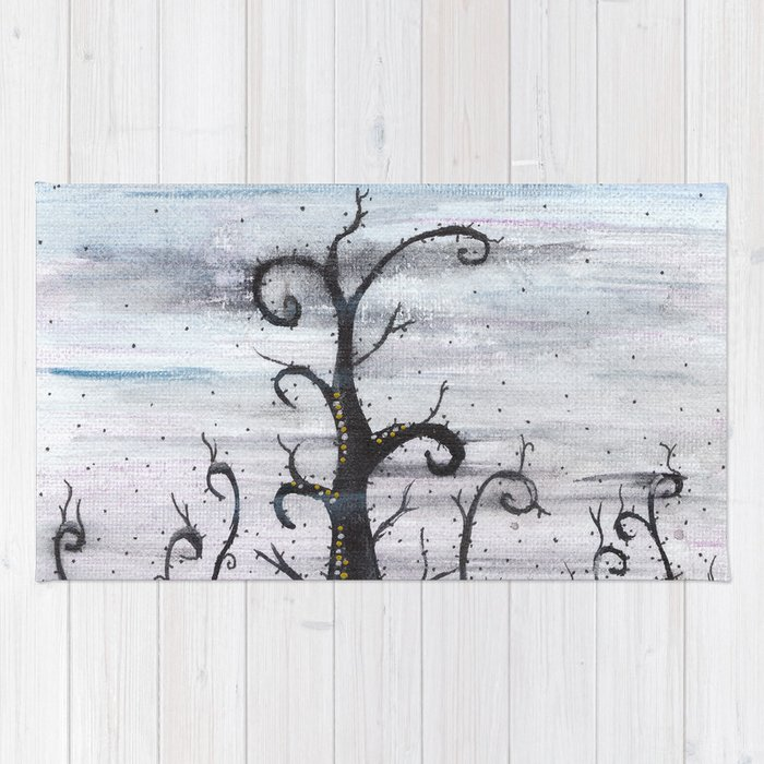 Magic forest - abstract watercolor painting Rug