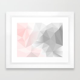 pink and gray geometric low poly background Framed Art Print