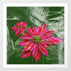 Abstract vibrant red poinsettia on green texture Art Print