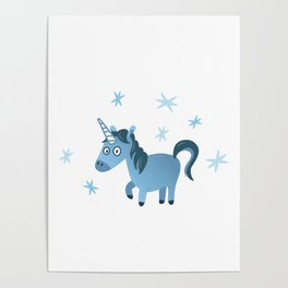 Blue unicorn illustration, Lost in stars Poster