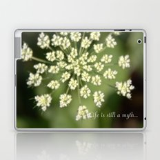 queen lace flowering head. floral garden plant photography. Laptop & iPad Skin
