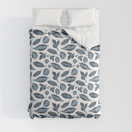 Blue and White Tropical Leaves Comforters