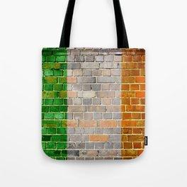 Ireland flag on a brick wall Tote Bag