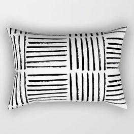 Modern black white watercolor paint brushstrokes Rectangular Pillow