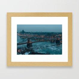 Budapest - Chain Bridge Framed Art Print
