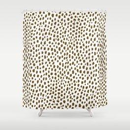 Brown Dalmatian Spots (brown/white) Shower Curtain