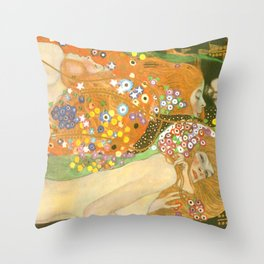 "Gustav Klimt ""Water Serpents"" Throw Pillow"