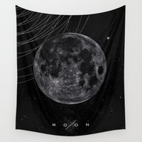 the moon Wall Tapestries featuring MOON by Alexander Pohl