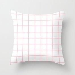 Grid (Pink/White) Throw Pillow