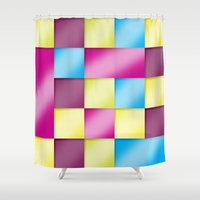 tetris Shower Curtains featuring Tetris blanket by Roberlan Borges