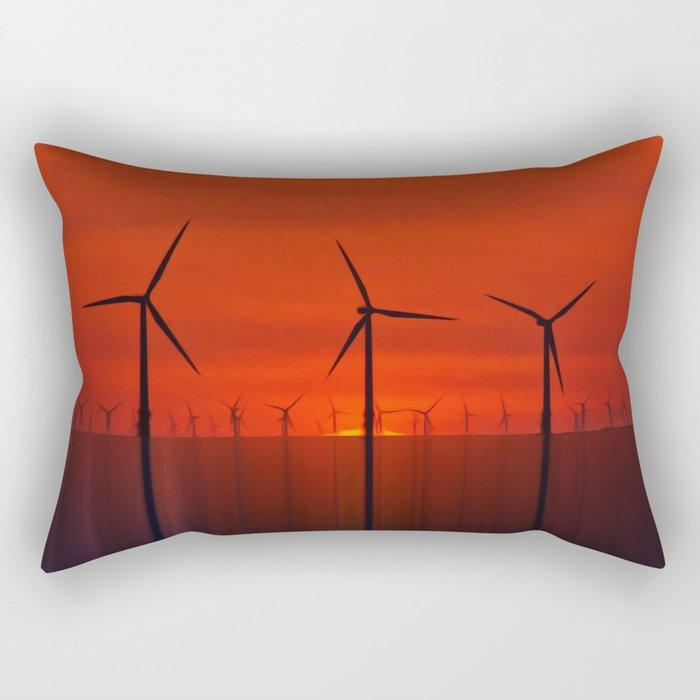 Wind Farms (Digital Art) Rectangular Pillow