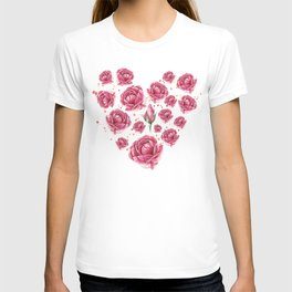 Floral heart of roses T-shirt