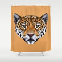 jaguar Shower Curtains featuring Jaguar by peachandguava