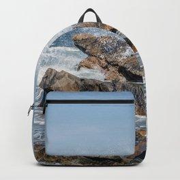 Wave crashing on the rocks 0819 Backpack