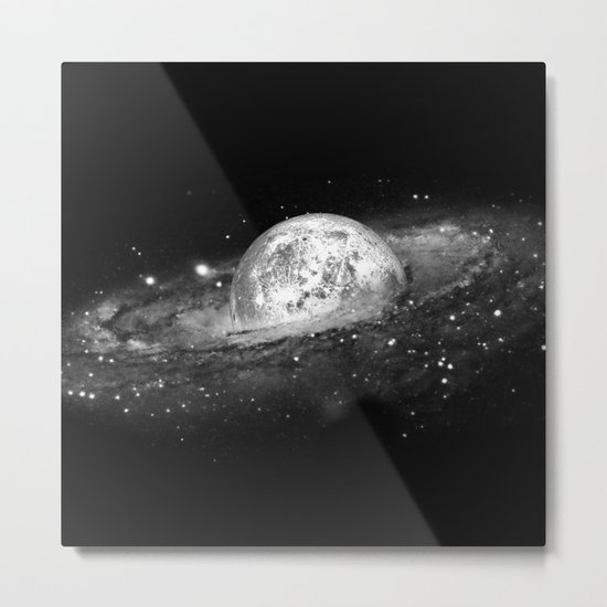 Moon and Galaxy Metal Print