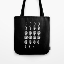 Phases of the Moon print black-white photo new lunar eclipse poster bedroom home wall decor Tote Bag
