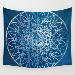 Fire Blossom - Blue Wall Tapestry