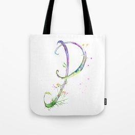 Letter P watercolor - Watercolor Monogram - Watercolor typography - Floral lettering Tote Bag