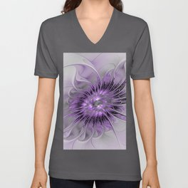 Lilac Fantasy Flower, Fractal Art Unisex V-Neck