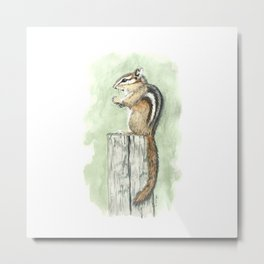 Chipmunk on a Fence Post - Watercolor Metal Print