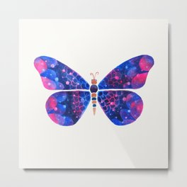 Blue pink and metallic butterfly Metal Print