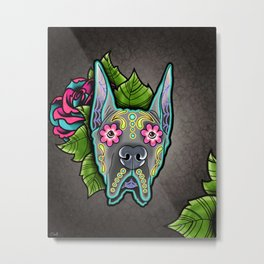 Great Dane with Cropped Ears - Day of the Dead Sugar Skull Dog Metal Print
