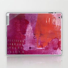 Bright and Alive: an abstract mixed-media piece in purples and reds by Alyssa Hamilton Art Laptop & iPad Skin