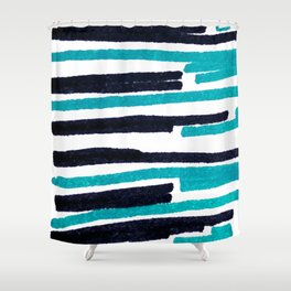 Black and blue strange lines Shower Curtain