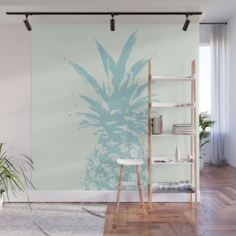 Half light Blue Pineapple duo tone vector art Wall Mural