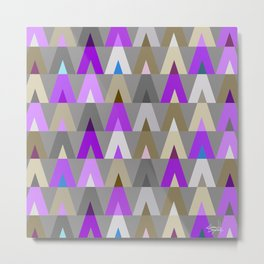 Geometric Triangles | purple grey Metal Print