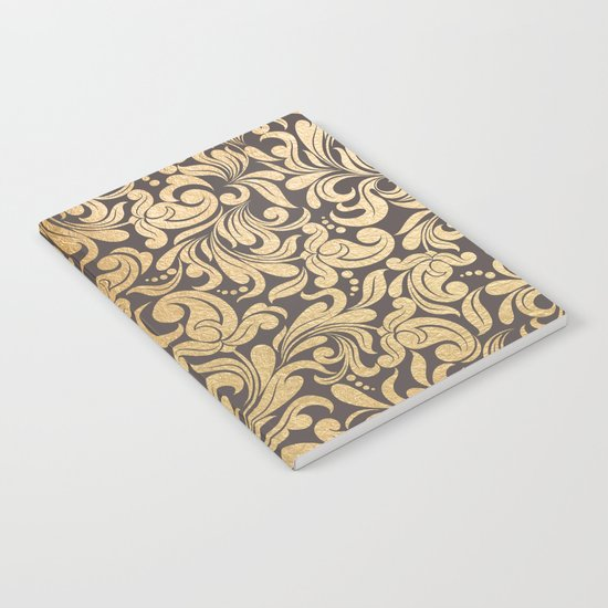 Gold foil swirls damask #11 Notebook