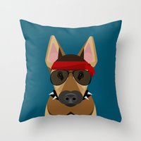 harley Throw Pillows featuring Harley by Sarah Becker