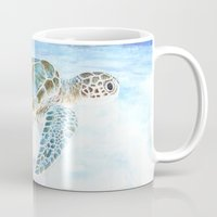 sea turtle Mugs featuring Sea turtle by Savousepate