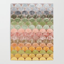 Watercolor art decó pattern Poster