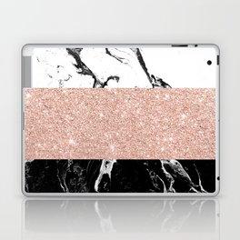 Modern black white marble rose gold color block stripes pattern Laptop & iPad Skin